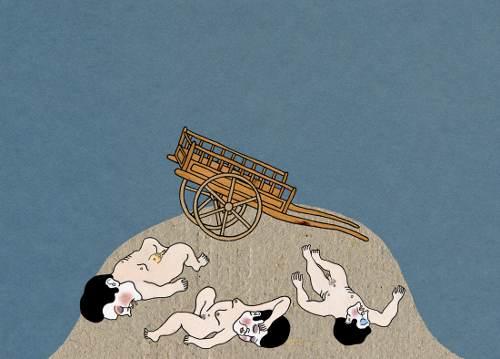 Bodies and carriage - Illustration by Luca Dipierro for the book The Bodies Were Long Gone (forthcoming)