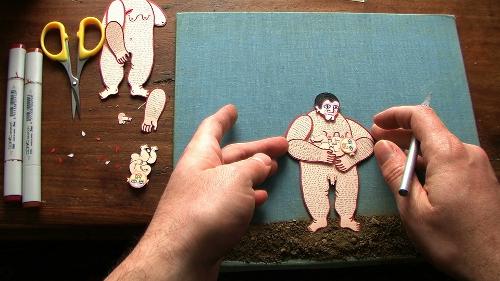 Luca Dipierro in his studio working on the animation Eine Geburt (2012)